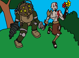 Big Daddy and Kratos are best friends. MSpaint by San9afis