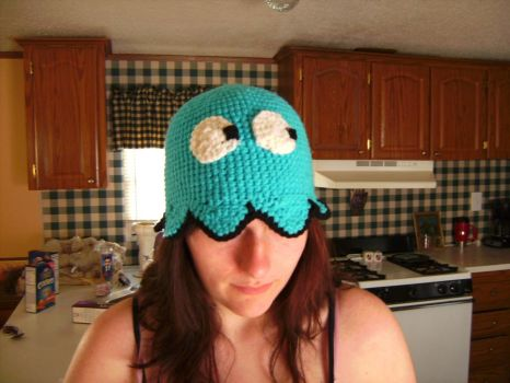 Pac man Ghost hat-Inky by MaculaMaster734
