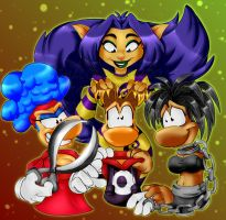 Rayman and the three ladies by shaloneSK