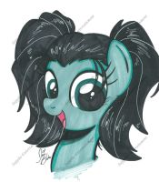 Filly Sappho in pigtails by PonyGoddess