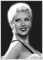 Christina Aguilera bw by sahabiha