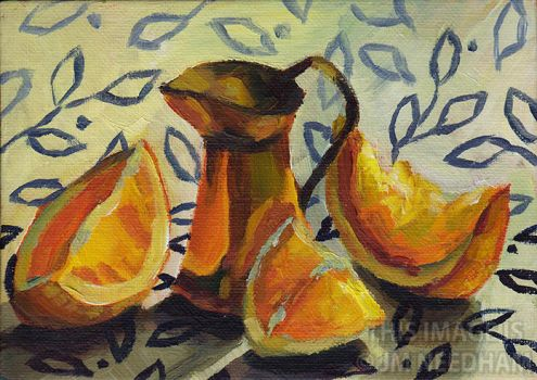 Copper, Oranges and Leaves by JMNeedhamArt