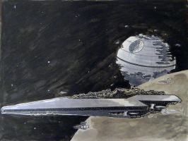 Super Star Destroyer and the Death Star by GeekyWhiteGuy