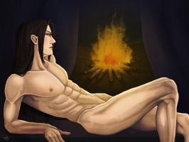 Sima Yi, at midnight (nude version) by Grace-Zed