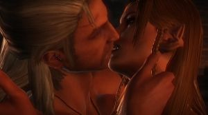Witcher and Elf girl kiss by winchester01