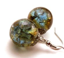 Blue and Amber Fried Marble Earrings by annjepsen