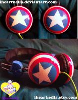 Captain America shield Headphones by Iheartnella