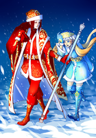 Father Frost and Snow-maiden by Atrika