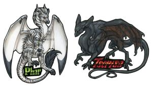 Phar and Tserisa Badges by Shadow-Wolf