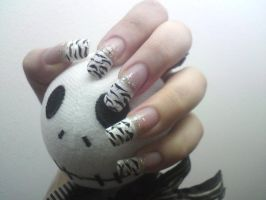 Zebra-French nails by MorticiaVamp