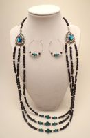 Triple Strand Black and Teal Set by TheSortedBead