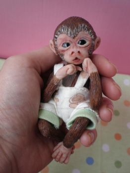 Ooak Baby Monkey Sculpture in Polymer Clay by WendysArtwork