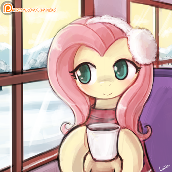 Coffee Time with Fluttershy by luminaura