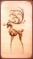 woodburning celadeer by Tsairi