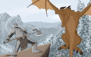 Skyrim: Warrior vs Dragon by SonicPikapal