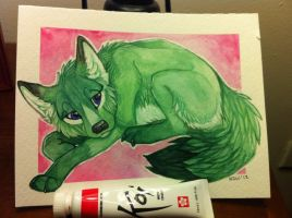 Gift exchange fox painting by nightspiritwing