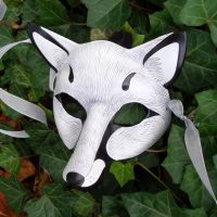 White Fox Leather Mask by merimask