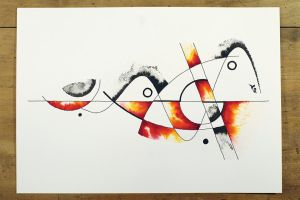 Ink and watercolor design painting by InkingArt