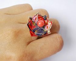 Origami Lotus Flower Ring, Adjustable by OriArte-jewelry