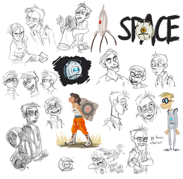 Portal 2 Doodles by Not-Quite-Normal