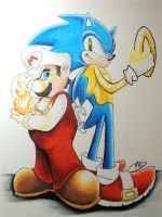 Sonic and Mario by fingerinthemiddle