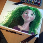 Merida color Pencil Drawing  ( green version ) by AtomiccircuS