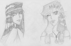 Teana and my unnamed OC sketch by Danni-Stone