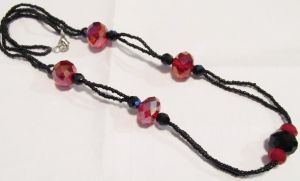 red and black crystal necklace by AnaInTheStars