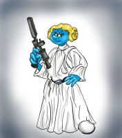 Princess Leia Smurfed by originalceenote