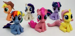 Mane 6 Filly Head Turner custom sculptures by MadPonyScientist