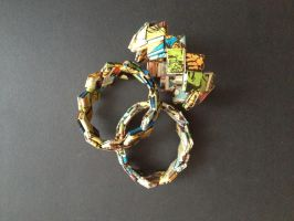 Bracelet, braided paper 01 by SecondChanceCrafts