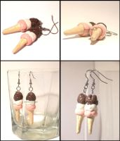 Neapolitan Ice Cream Earrings by summermagic