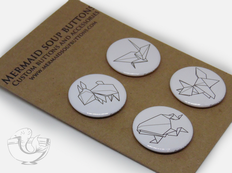Origami Animals Pinback buttons by MermaidSoupButtons