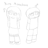 Young Monochrome Both Genders by MonochromeFuji