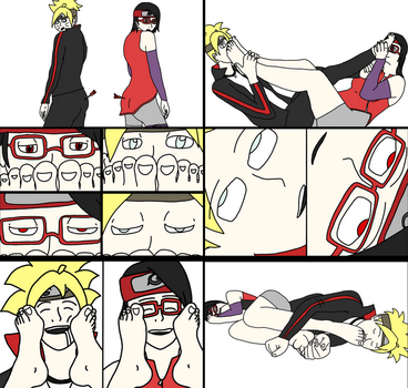 Boruto and Sarada's Foot Fun [Request] by penguinluver1431