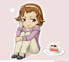 Chibi Louisa and a piece of cake by Ciorane
