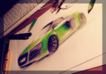 Green Audi R8 drawing by xxCaliforniaAngelxx