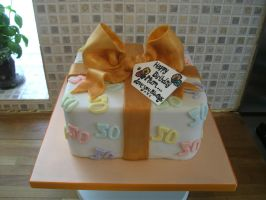 50th Gift Box Cake by gertygetsgangster