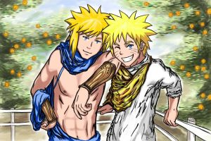 Greek Naruto and Minato by 1nk-1nc