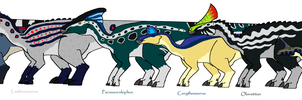 Hadrosaurs of Fang's Journey by StormDragonMatsuko