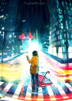 City Night Speedpaint (tutorial video linked) by yuumei