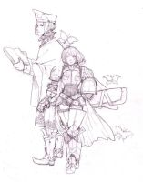 Mage and warrior -sketch by Minochi