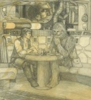 Chewie and Han playing chess by plushbug