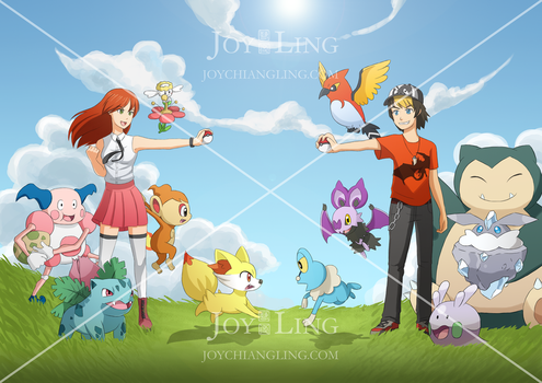 Jenny and Mike's Pokemon Battle! by joy-ling