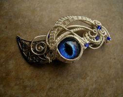 Custom Barrette - Sapphire Blue Dragon Eye Leaves by LadyPirotessa