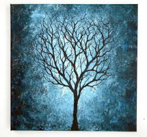 Blue Tree Painting 12X12 by blablover5
