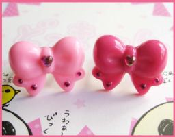 Pink Bow Rings by cherryboop
