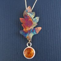 Oak Leaf Fire Copper Pendant by camias