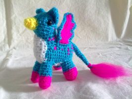 Bright Blue and Pink Pigmy Gryphon by hollyann