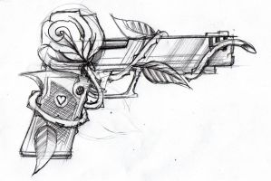 Gun and rose by SteveGolliotVillers